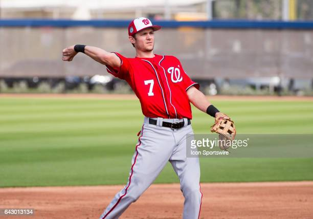 Washington Nationals Infielder Trea Turner throws the ball during a Washington Nationals spring training workout at The Ballpark of the Palm Beaches...