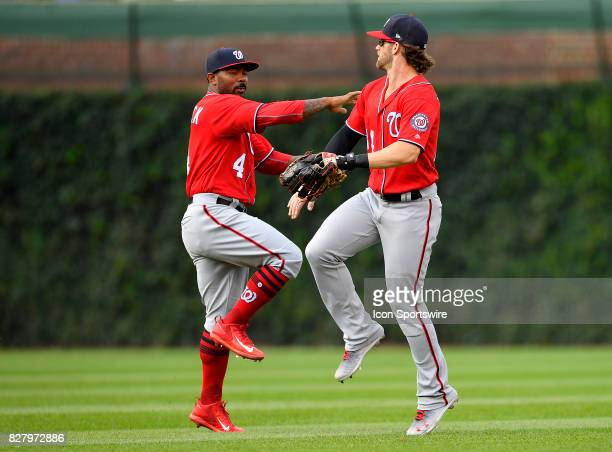 Washington Nationals left fielder Howie Kendrick and Washington Nationals Bryce Harper celebrate the win against the Chicago Cubs on August 6 2017 at...