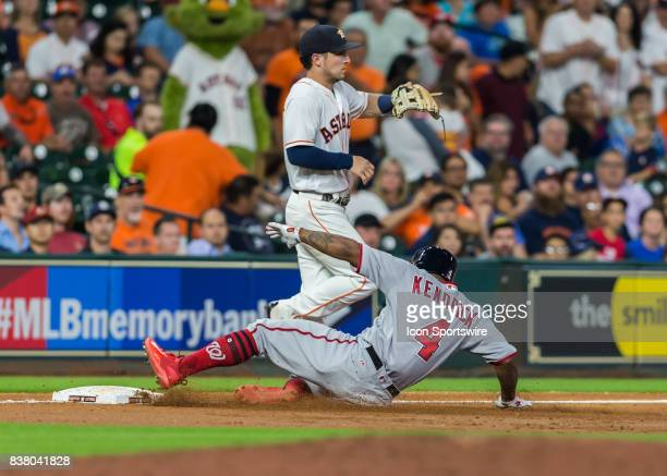 Washington Nationals left fielder Howie Kendrick is safe at third base during the MLB game between the Washington Nationals and Houston Astros on...