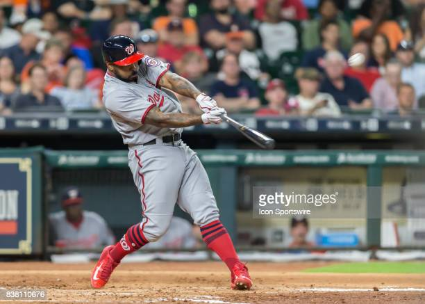 Washington Nationals left fielder Howie Kendrick triples to deep center in the third inning of the MLB game between the Washington Nationals and...