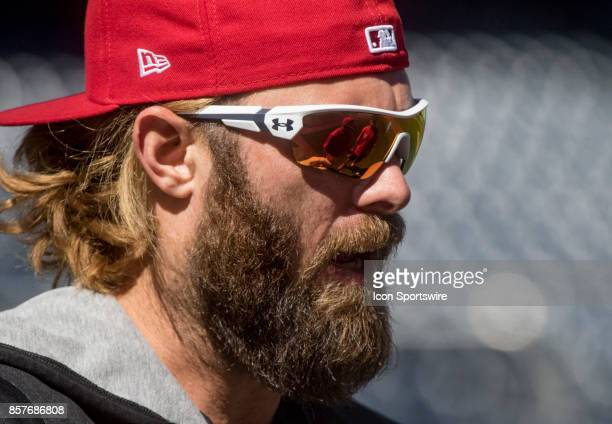 Washington Nationals left fielder Jayson Werth awaits time in the batting cage during the Washington Nationals open practice on October 4 at...