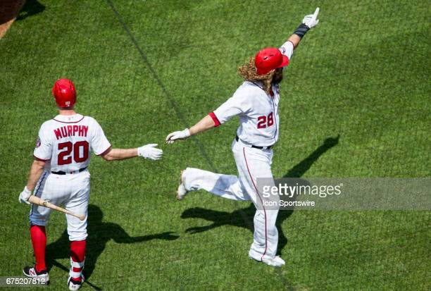 Washington Nationals left fielder Jayson Werth home run as he acknowledges the RBI single by first baseman Ryan Zimmerman in the first inning during...