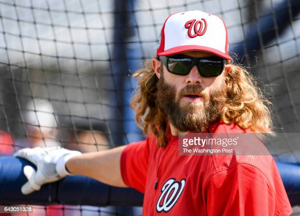 Washington Nationals left fielder Jayson Werth takes batting practice during their first workout at the Ballpark of the Palm Beaches in West Palm...