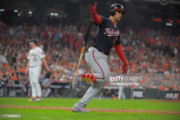 Washington Nationals left fielder Juan Soto hits a 5th inning solo home run to make the score 32 during a game between the Washington Nationals and...