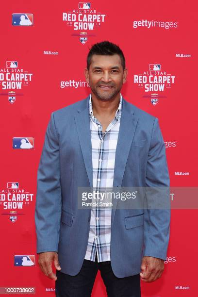 Washington Nationals manager Dave Martinez attends the 89th MLB AllStar Game presented by MasterCard red carpet at Nationals Park on July 17 2018 in...