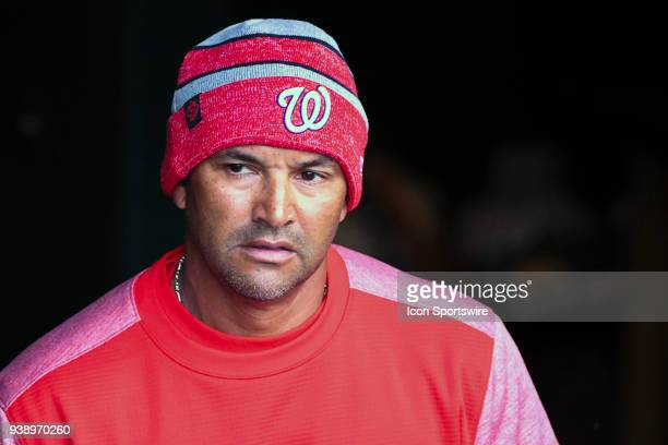 Washington Nationals manager Dave Martinez comes into the dugout during the game between the Minnesota Twins and the Washington Nationals on March 27...