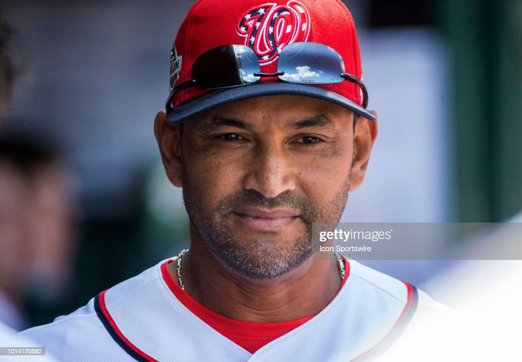 Washington Nationals manager Dave Martinez (4) in the dugout before a MLB game between the Washington Nationals and the Atlanta Braves on August 9, 2018, at Nationals Park, in Washington D.C. The Nationals defeated the Braves 6-3.