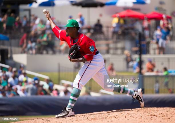 Washington Nationals NonRoster Invitee Pitcher Edwin Jackson throws the ball from the mound during the St Patrick's Day MLB spring training game...