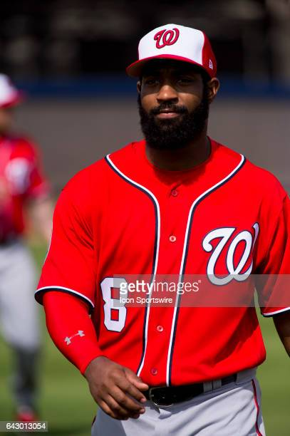 Washington Nationals Outfielder Brian Goodwin during a Washington Nationals spring training workout at The Ballpark of the Palm Beaches in West Palm...