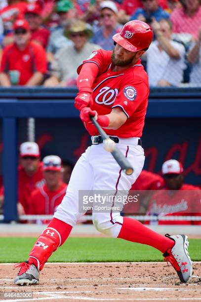 Washington Nationals outfielder Bryce Harper hits a standup double during a Spring Training game between the Houston Astros and Washington Nationals...