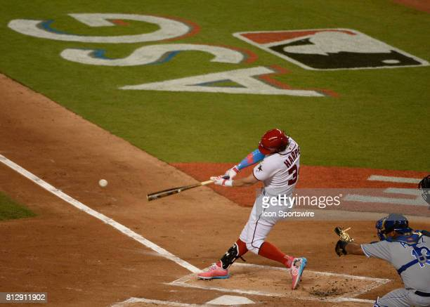 Washington Nationals outfielder Bryce Harper singled to shallow left during the AllStar game between the National League and the American League on...