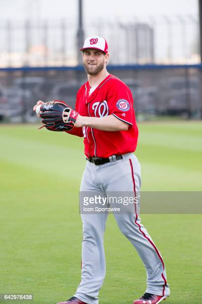 Washington Nationals Outfielder Bryce Harper smiles during a Washington Nationals spring training workout at The Ballpark of the Palm Beaches in West...