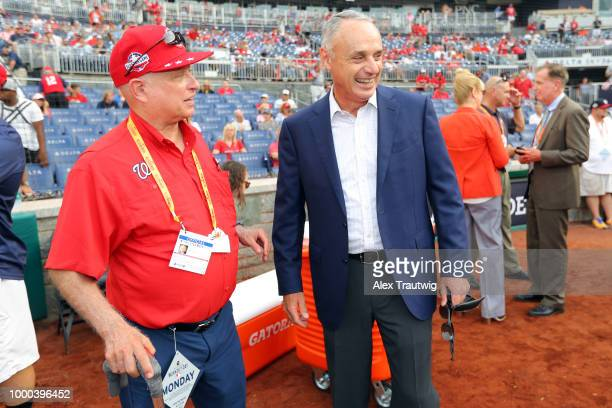 Washington Nationals owner Mark Lerner jokes with Major League Baseball Commissioner Robert D Manfred Jr prior to the TMobile Home Run Derby at...