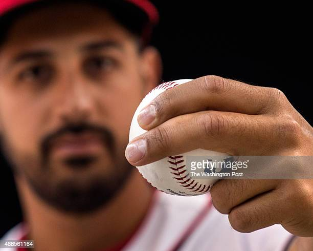 Washington Nationals pitcher Gio Gonzalez one of the projected starting pitchers for the Washington Nationals shows the grip for his curve ball...
