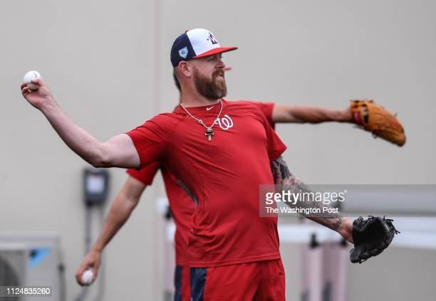 BEACH FL FEBRUARY Washington Nationals pitcher Justin Miller throws long ball with a teammate at the Nationals Spring Training complex at FITTEAM...