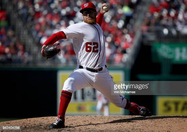 Washington Nationals pitcher Sean Doolittle delivers a pitch during the home opener for the Washington Nationals April 05 2018 at Nationals Park in...