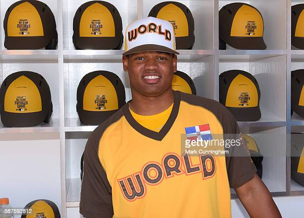 Washington Nationals prospect Reynaldo Lopez of the World Team poses for a photo prior to the SiriusXM AllStar Futures Game at PETCO Park on July 10...