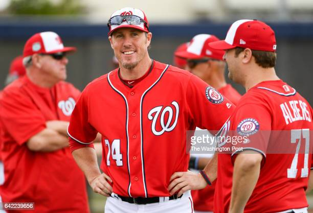 Washington Nationals relief pitcher Joe Nathan waits for the horn to sound during the first workout of spring training at the Ballpark of the Palm...