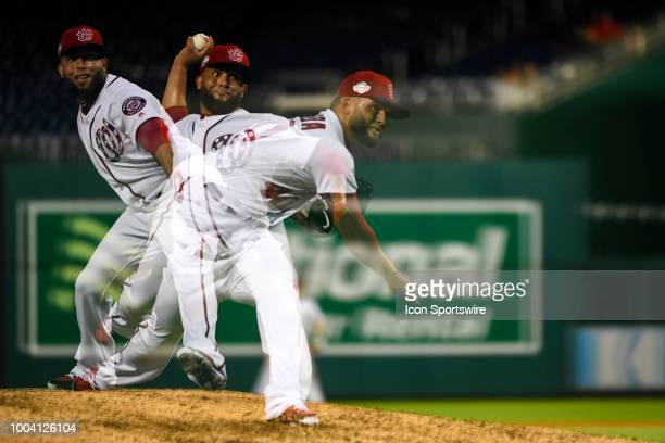 Washington Nationals relief pitcher Kelvin Herrera pitches in an in camera multiple exposure in the ninth inning during the game between the Atlanta...