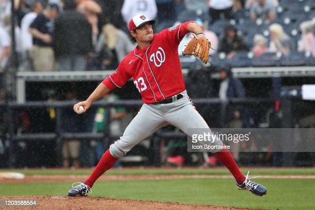 Washington Nationals relief pitcher Ryne Harper during the MLB Spring Training game between the Washington Nationals and New York Yankees on February...