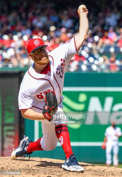 Washington Nationals relief pitcher Sean Doolittle pitches in the tenth inning during the game between the Atlanta Braves and the Washington...