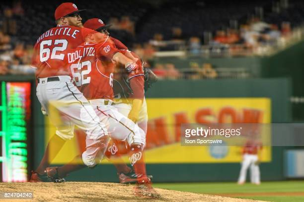 Washington Nationals relief pitcher Sean Doolittle pitches in the ninth inning in an in camera multiple exposure during an MLB game between the...