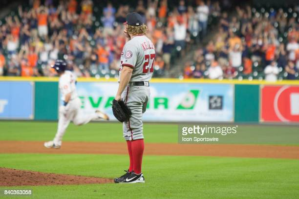 Washington Nationals relief pitcher Shawn Kelley looks on as Houston Astros third baseman Alex Bregman runs the bases after hitting a home run in the...