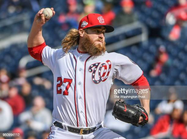 Washington Nationals relief pitcher Shawn Kelley pitches in the 11th inning against the Atlanta Braves at Nationals Park