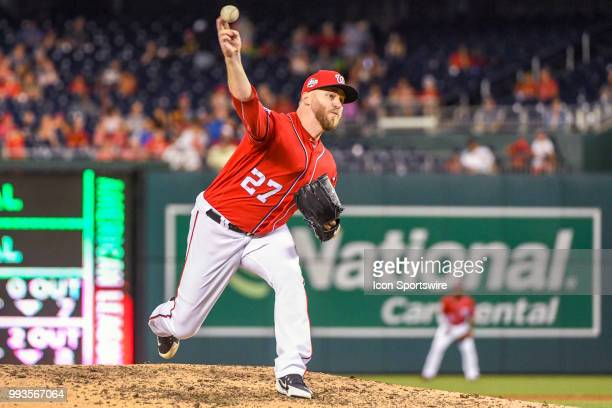 Washington Nationals relief pitcher Shawn Kelley pitches in the ninth inning during the game between the Miami Marlins and the Washington Nationals...