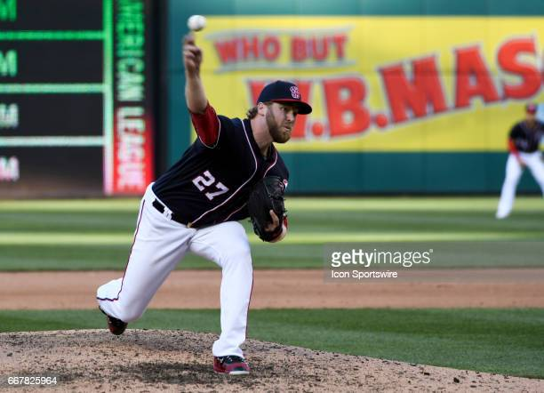 Washington Nationals relief pitcher Shawn Kelley pitches in the eighth inning against the St Louis Cardinals on April 12 at Nationals Park in...