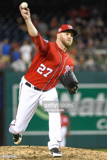 Washington Nationals relief pitcher Shawn Kelley pitches in the eighth inning during the game between the Miami Marlins and the Washington Nationals...