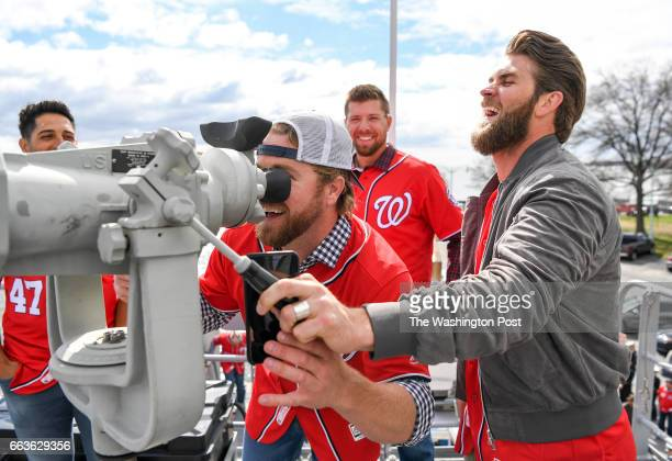 Washington Nationals right fielder Bryce Harper and pitcher Shawn Kelley check out a ships binoculars during a tour of the Naval Academy prior to the...