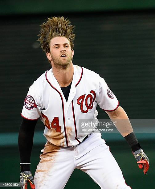 Washington Nationals Right Fielder Bryce Harper Flips His Hair Back After Hitting A Double During First