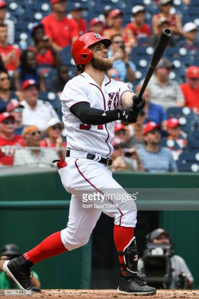 Washington Nationals right fielder Bryce Harper hits a two run home run in the first inning during an MLB game between the Milwaukee Brewers and the...