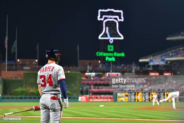 Washington Nationals right fielder Bryce Harper looks on from the batters box during the MLB game between the Washington Nationals and the...