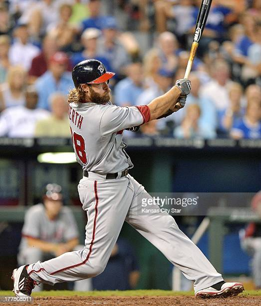 Washington Nationals right fielder Jayson Werth follows through on a tworun home run in the fourth inning against the Kansas City Royals at Kauffman...