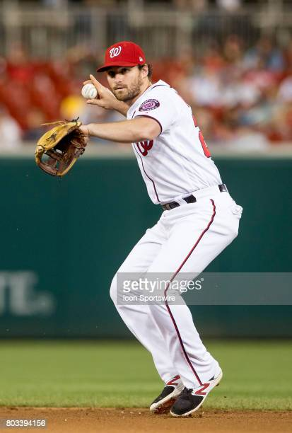Washington Nationals second baseman Daniel Murphy about to throw to first in the ninth inning during a MLB game between the Washington Nationals and...