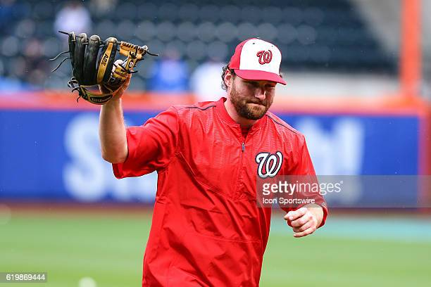 Washington Nationals second baseman Daniel Murphy acknowledges the fans prior to the game between the New York Mets and the Washington Nationals...