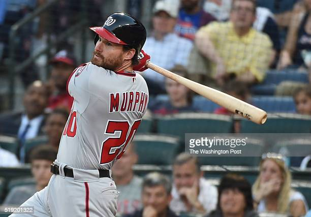 Washington Nationals second baseman Daniel Murphy hits a game winning double in the 10th scoring Ryan Zimmerman for a 43 win over the Atlanta Braves...