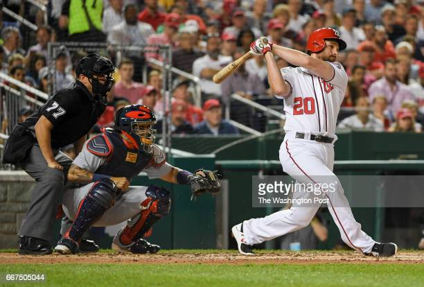 Washington Nationals second baseman Daniel Murphy knocks in two runs during third inning action against the St Louis Cardinals in Washington DC on...
