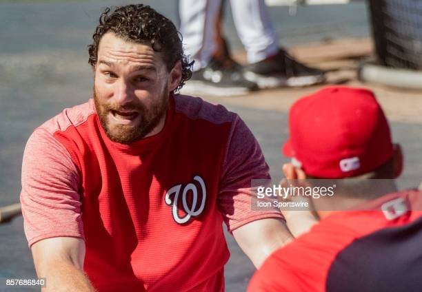 Washington Nationals second baseman Daniel Murphy talks to first baseman Ryan Zimmerman during the Washington Nationals open practice on October 4 at...