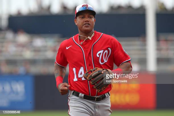 Washington Nationals second baseman Starlin Castro during the MLB Spring Training game between the Washington Nationals and New York Yankees on...