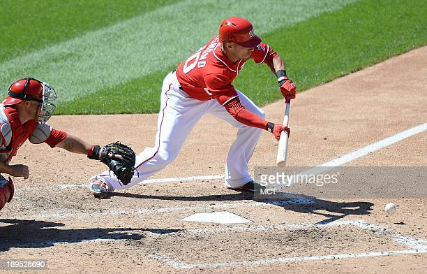 Washington Nationals shortstop Ian Desmond lays down a sacrifice bunt against the Philadelphia Phillies and advances two Nationals base runners in...