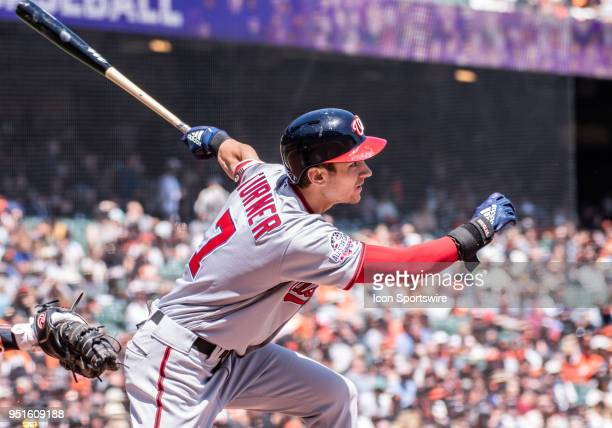 Washington Nationals Shortstop Trea Turner follows a hit to right field during the game between the Washington Nationals and the San Francisco Giants...