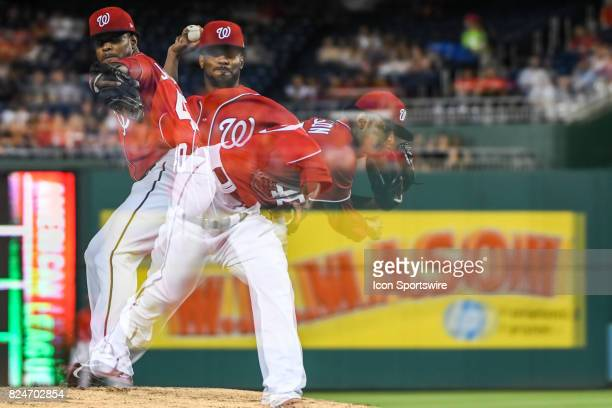 Washington Nationals starting pitcher Edwin Jackson pitches in an in camera multiple exposure during an MLB game between the Colorado Rockies and the...