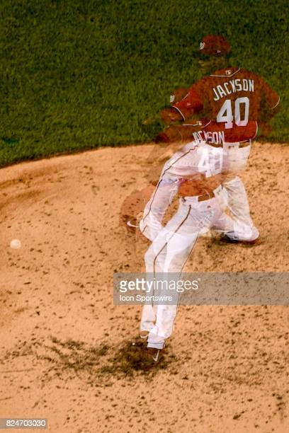 Washington Nationals starting pitcher Edwin Jackson pitches in an in camera multiple exposure in the sixth inning during an MLB game between the...