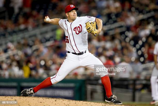Washington Nationals starting pitcher Joe Blanton in relief in the eight inning during a MLB National League game between the Washington Nationals...