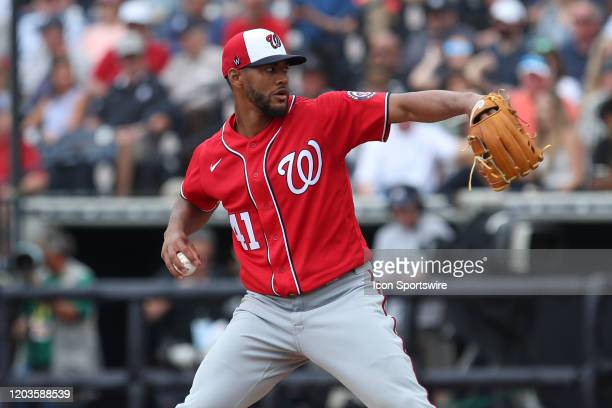 Washington Nationals starting pitcher Joe Ross delivers a pitch during the MLB Spring Training game between the Washington Nationals and New York...