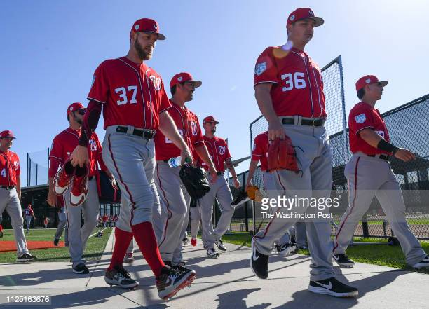 BEACH FL FEBRUARY Washington Nationals starting pitcher Stephen Strasburg heads out to the fields for the day's workout at the Nationals Spring...