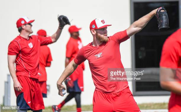 Washington Nationals starting pitcher Stephen Strasburg throws warmup tosses at the Ballpark of the Palm Beaches in West Palm Beach Fl on February 15...